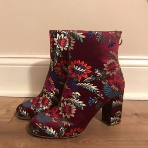 Multi-colored floral Joie booties